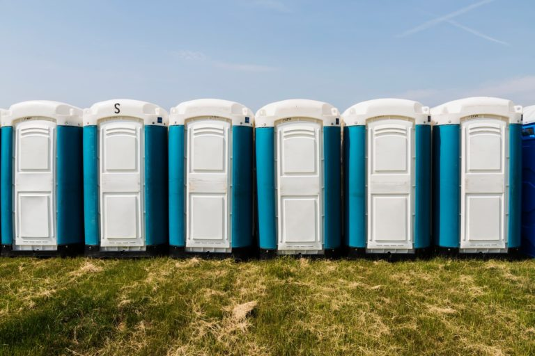 Row of temporary toilets